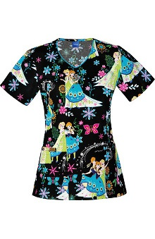 Clearance Tooniforms by Cherokee Women's V-Neck Frozen Print Scrub Top
