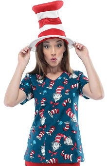 Tooniforms by Cherokee Women's V-Neck Cat In The Hat Print Scrub Top