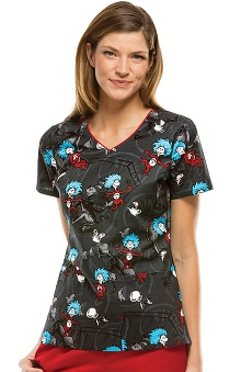 Tooniforms by Cherokee Women's V-Neck Thing Print Scrub Top