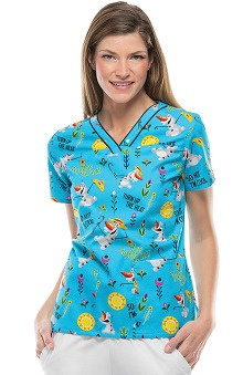 Tooniforms by Cherokee Women's V-Neck Frozen Turn Up The Heat Print Scrub Top