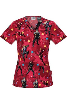 Clearance Tooniforms by Cherokee Women's V-Neck Marvel Print Scrub Top