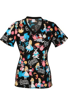 Tooniforms By Cherokee Women's V-Neck Knit Side Alice In Wonderland Print Scrub Top