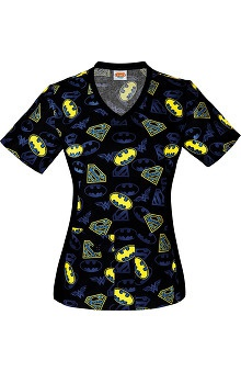 Tooniforms by Cherokee Women's V-Neck Knit Panel Justice League Print Scrub Top