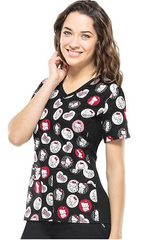Tooniforms by Cherokee Women's V-Neck Knit Side Hello Kitty Print Scrub Top
