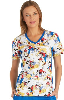 Tooniforms by Cherokee Women's V-Neck Knit Panel Mickey Mouse Print Scrub Top