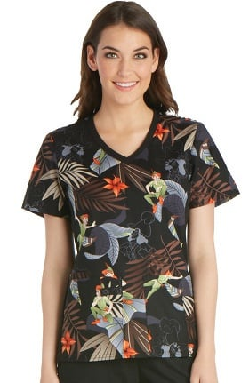 Tooniforms by Cherokee Women's V-Neck Knit Panel Peter Pan Print Scrub Top