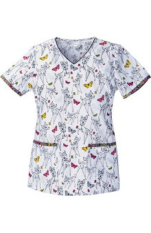 Tooniforms by Cherokee Women's V-Neck Bambi  Print Scrub Top