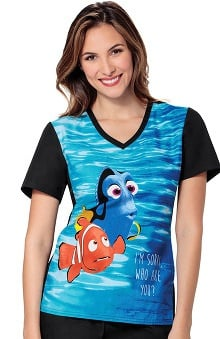 Tooniforms by Cherokee Women's V-Neck Nemo Print Scrub Top