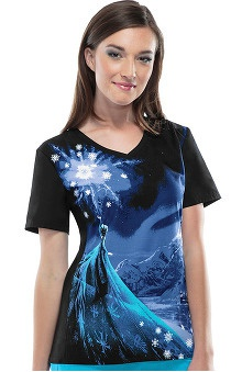Tooniforms by Cherokee Women's V-Neck Frozen Print Scrub Top