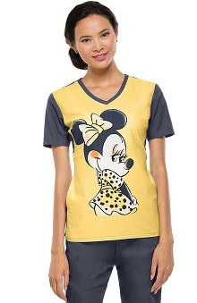 Clearance Tooniforms by Cherokee Women's V-Neck Adorable Minnie Print Scrub Top
