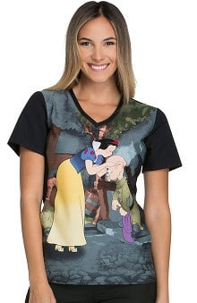 Tooniforms by Cherokee Women's V-Neck Snow White Print Scrub Top