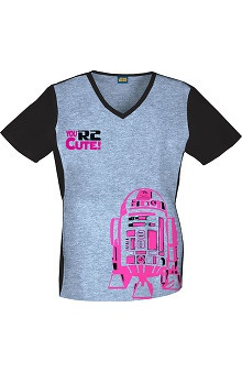 Tooniforms by Cherokee Women's V-Neck R2-D2 Print Scrub Top