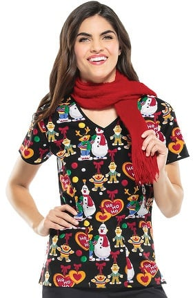 Tooniforms by Cherokee Women's V-Neck Sesame Street Christmas Print Scrub Top