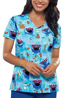 Tooniforms by Cherokee Women's Cut V-Neck Cookie Monster Print Scrub Top