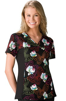 Tooniforms by Cherokee Women's Flexibles Toon Hello Kitty Print Scrub Top
