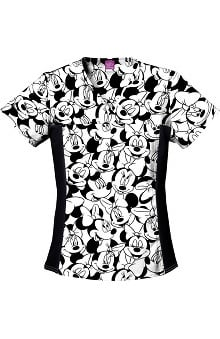 Tooniforms by Cherokee Women's Flexibles Toon Minnie Mouse  Print Scrub Top