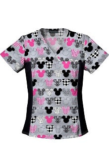 Tooniforms by Cherokee Women's Flexibles Toon Mickey Mouse Print Scrub Top