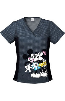 Tooniforms by Cherokee Women's Flexibles Toon Mickey and Minnie Print Scrub Top