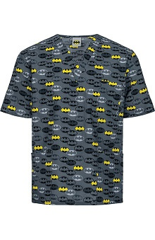 Tooniforms by Cherokee Unisex V-Neck Dark Knight Print Scrub Top