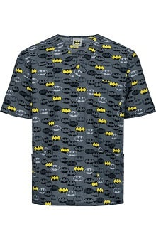 Clearance Tooniforms by Cherokee Unisex V-Neck Dark Knight Print Scrub Top