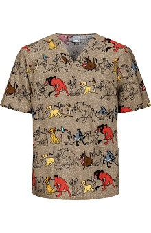 Clearance Tooniforms by Cherokee Unisex V-Neck Lion King Print Scrub Top