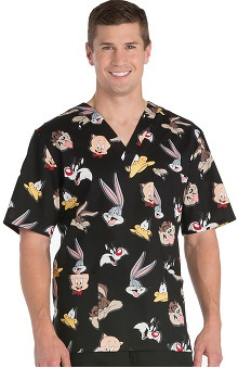 Tooniforms by Cherokee Unisex V-Neck Looney Tunes Scrub Top