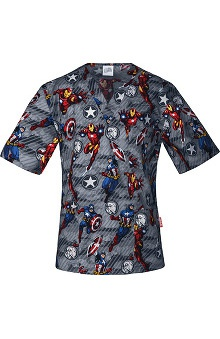 Clearance Tooniforms by Cherokee Unisex V-Neck Avengers Print Scrub Top
