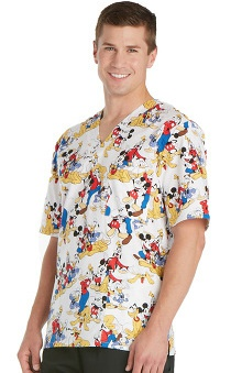 Tooniforms by Cherokee Unisex V-Neck Mickey Mouse Scrub Top
