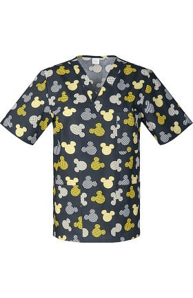 Tooniforms by Cherokee Unisex V-Neck Mickey Mouse Print Scrub Top