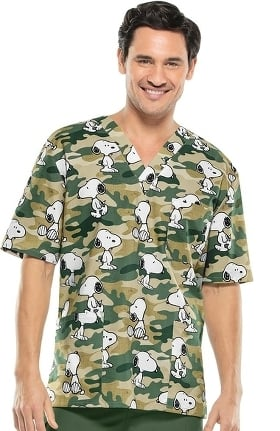 Tooniforms by Cherokee Unisex V-Neck Snoopy Print Scrub Top