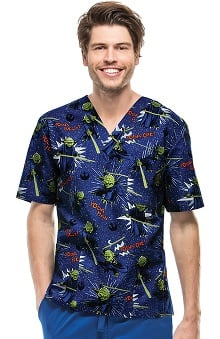 Tooniforms by Cherokee Unisex V-Neck Yoda Print Scrub Top