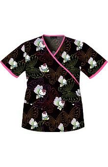 holiday: Tooniforms by Cherokee Women's 2-Pocket Mock Wrap Print Scrub Top