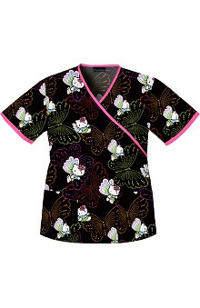 Tooniforms by Cherokee Women's 2-Pocket Mock Wrap Hello Kitty  Print Scrub Top