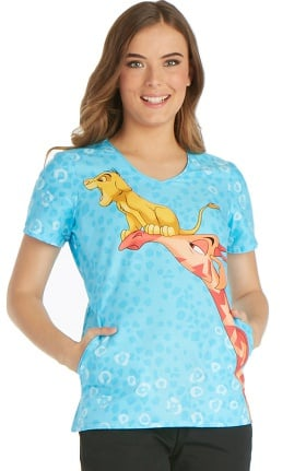 Clearance Tooniforms by Cherokee Women's V-Neck Lion King Print Scrub Top