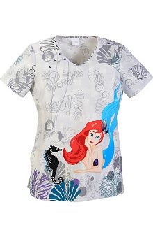 Tooniforms By Cherokee Women's V-Neck Little Mermaid Print Scrub Top