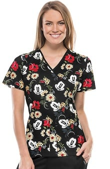 Tooniforms by Cherokee Women's Slimming Mock Wrap Floral Print Scrub Top