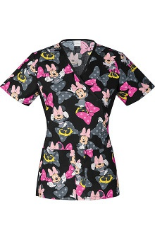 Tooniforms by Cherokee Women's Slimming Mock Wrap Minnie Mouse Print Scrub Top