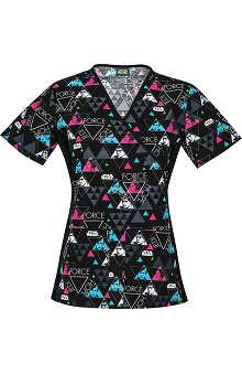 Tooniforms by Cherokee Women's Slimming Mock Wrap Hope Print Scrub Top