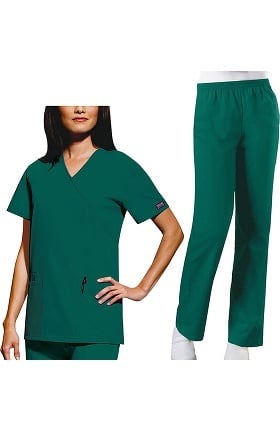 Cherokee Workwear Originals Women's Mock Wrap Scrub Top & Elastic Waist Pant Set