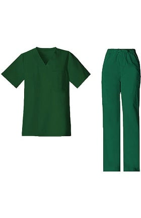 Core Stretch by Cherokee Workwear Men's V-Neck Top & Drawstring Pant Scrub Set
