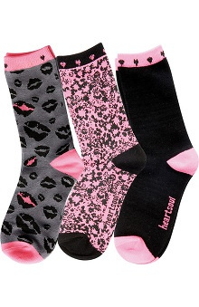 heartsoul Women's Romantic Print Crew Socks 3 Pack