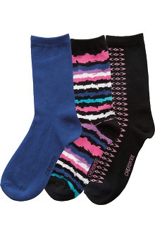 Cherokee Women's Blue Print Crew Socks 3 Pack