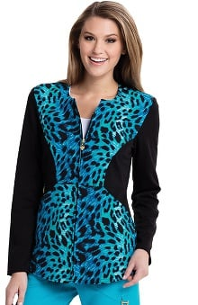 Careisma By Sofia Vergara Women's Angelina Zip-Up Animal Print Scrub Jacket