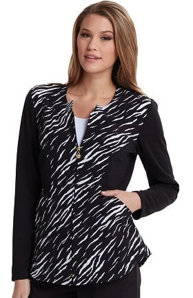 Clearance Careisma By Sofia Vergara Women's Angelina Zip-Up Animal Print Scrub Jacket