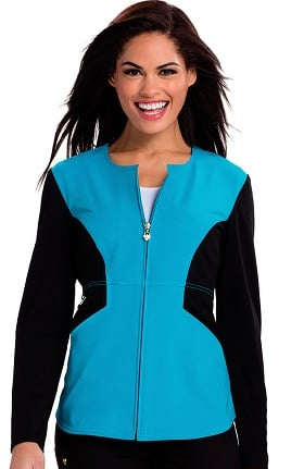 Careisma By Sofia Vergara Women's Angelina Zip-Up Colorblock Scrub Jacket