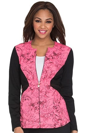 Careisma by Sofia Vergara Women's Zip Front Floral Print Scrub Jacket