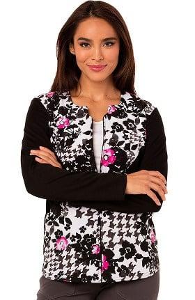Careisma by Sofia Vergara Women's Zip Front Floral Print Scrub Jacket