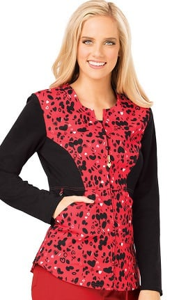 Careisma by Sofia Vergara Women's Angelina Zip Front Heart Print Scrub Jacket