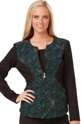 Careisma by Sofia Vergara Women's Angelina Zip Front Plaid Print Scrub Jacket