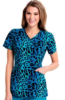 Careisma by Sofia Vergara Women's Sofia V-Neck Animal Print Scrub Top